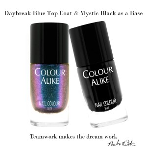 "729 ""Daybreak blue"" ultra hologrphic top coat + Mystic Black"