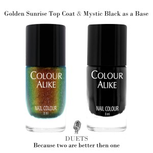 "727 ""Golden Sunrise"" ultra hologrphic top coat + Mystic Black"