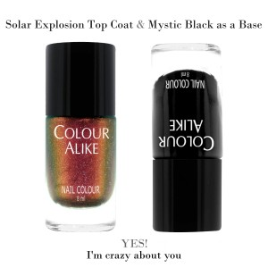 "728 ""Solar explosion"" ultra hologrphic top coat + Mystic Black"